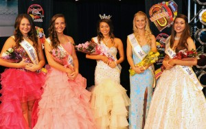2014 Miss Teen Popcorn Court: (l to r) Third runner-up Alexis Ritter, First runner-up Karrington Reed, Miss Teen Popcorn 2014 Hanah Reiff, Second runner-up Sydney Randall; and Fourth runner-up Elizabeth Corwin.