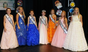 2014 Miss Teeny Pop Court: (right to left) Fifth Runner Up Sophia Thompson, Third Runner Up Jaden Smith, First Runner Up Marin Curry, Miss Teeny Pop Olivia Fogle, Second Runner Up Juliette Laracuente, Fourth Runner Up Melanie Lee, and Sixth Runner Up Annika Musser.