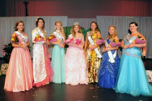 Miss Teen Popcorn court selected in festivities Saturday night at River Valley High School are (l - r): Karington Reed, Annslea Schaber, Sydney Randal, Miss Teen Popcorn 2015 Jennifer Moodie, 1st Runner Up Alexis Ritter, Jaden Smith, and Kaylee Wallace.