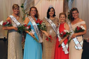 4th runner-up Dina Rudd, 2nd runner-up, Tammy Harrison, 2015 Ms. Marion Popcorn Festival Paige Filliator, 1st runner-up Stacie Hines, and 3rd runner up, Christina Nye.