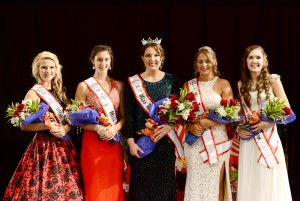 (l – r) 3rd Runner-Up Sydney Randall, 1st Runner-Up Hayley Stiverson, Miss Teen Popcorn 2016 Alexis Klaiber, 2nd Runner-Up Alexis Ritter, and 4th Runner-Up Sarah Perkins.