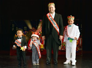 (l – r) Kernel Runner-Up Kareem Crabtree, Mr. Popcorn Kernel Oliver Schwartz, Mr. Popcorn 2016 Robb Koons, and Mr. Popcorn Junior Alex Thompson.