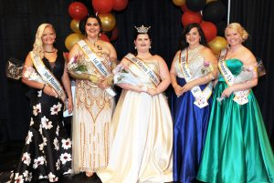 (L – R): 3rd Runner- Raeleigh Richards, 1st Runner-Up Annslea Schaber, Miss Marion Popcorn 2017 Kaylee Wallace, 2nd Runner-Up Emily Christman, and 4th Runner-Up Ashley Keener.